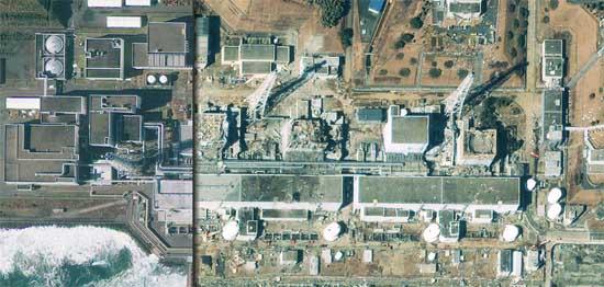 Japonsko před a po tsunami